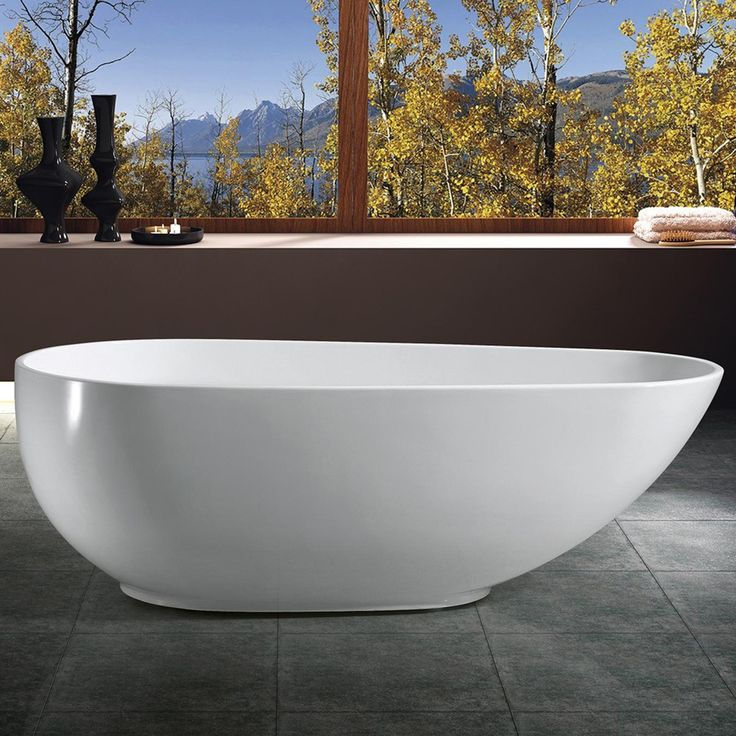 Akdy Bathroom White Color Freestand Acrylic Soaking Bathtub    Be Sure To  Check Out This Awesome Product.