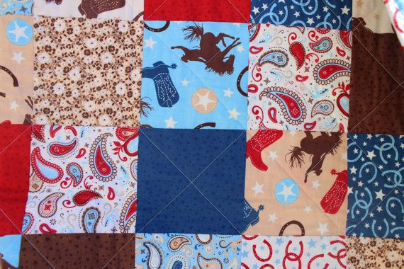 Cowboy Quilt Baby Boy Bedding Toddler Boy Crib by SillyPenny