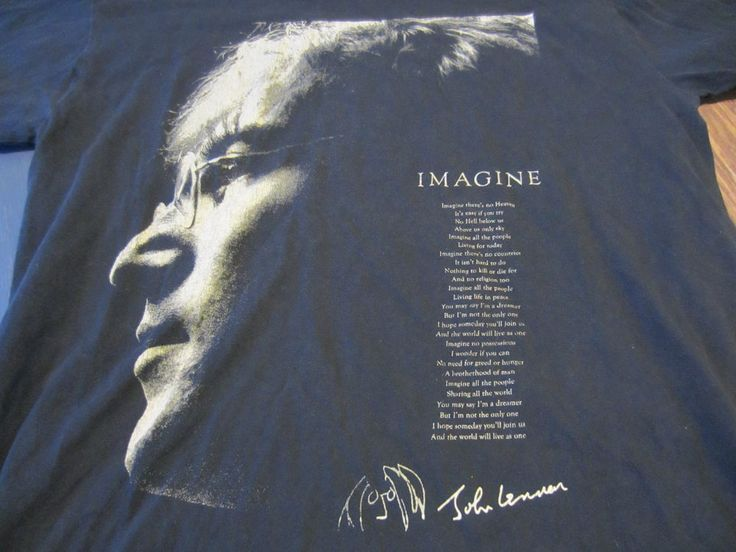 John Lennon Beatles Imagine Song Lyric Black Graphic Tshirt Medium Profile Pict #Unbranded #GraphicTee