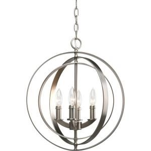 Thomasville Lighting, Equinox Collection Burnished Silver 4-light Foyer Pendant, P3827-126 at The Home Depot