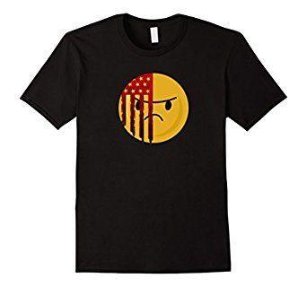 Amazon.com: Grunge Style American Flag Emoticon Emoji T-shirt: Clothing