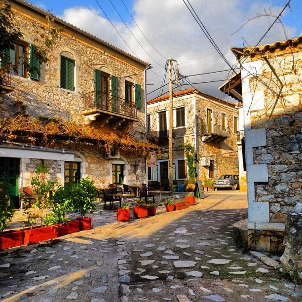 Truly one of the most understated and unspoilt places  in Greece.... Around every corner you see something new and beautiful. This is a typical view of the local neighborhood in Kardamyli. #Padgram
