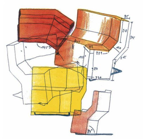konstantin grcic, preliminary drawing for the chaos side chair, classicon, 1999 (via design sketches on show in paris)