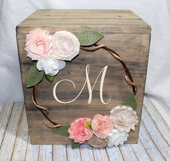 Rustic Wedding Card Box, Boho Floral Wreath, Personalized Monogram Letter, Boho Wedding Box Card Holder, Blush, Peach, Coral, Custom Colors – Its My Day