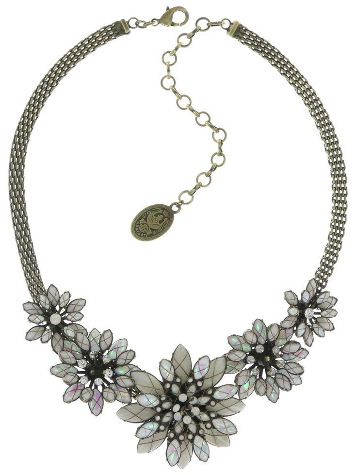 Halskette Psychodahlia weiß  medium, small, extra small