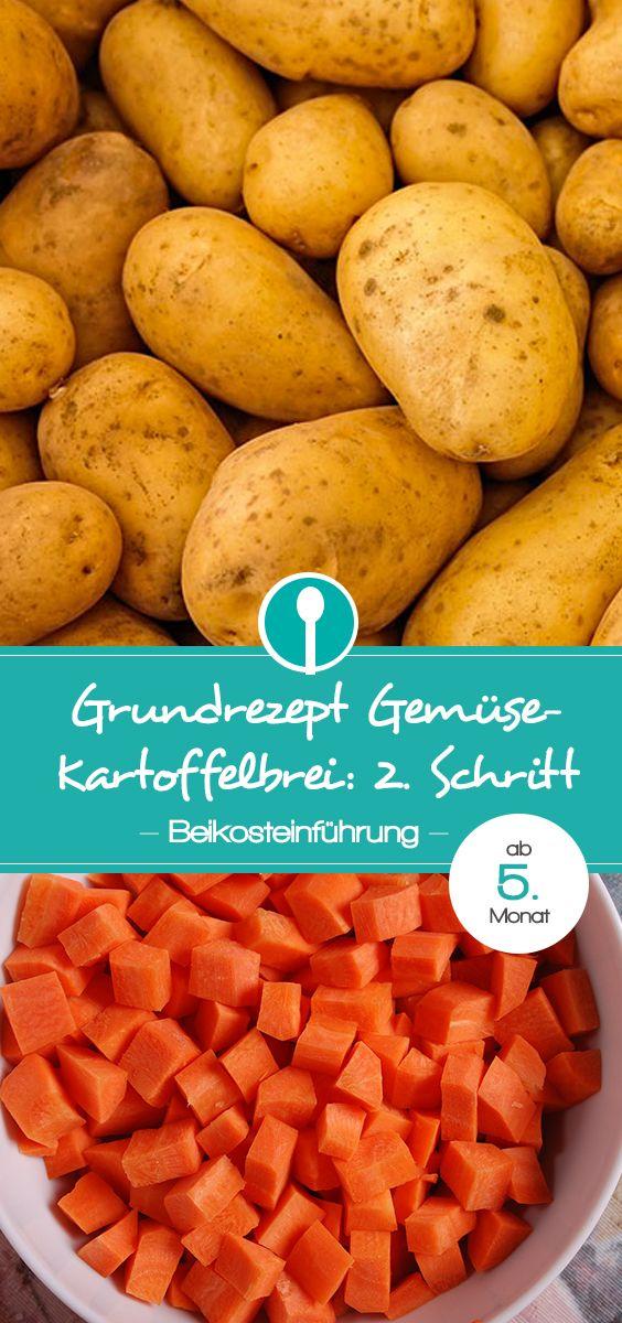 Rezept für Gemüse-Kartoffelbrei für die Beikosteinführung: Babybrei mit Karotte, Kürbis, Pastinake oder Süßkartoffel und Kartoffel für Babys ab dem 5.Monat