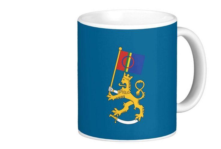 Suomileijona ja Saamen lippu.  http://bit.ly/saamelaiset-suomileijona-tuotteet  #suomileijona #muki #saame #saamelaiset #lippu #kahvimuki