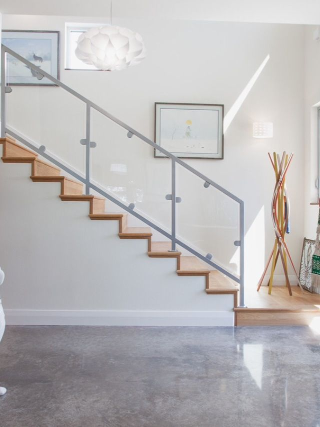 Polished Concrete Wood Stairs