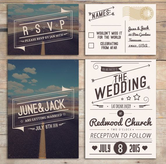 Retro Wedding Invitation Set   American Design, Rockabilly Style In Blue U0026  Cream With RSVP Postcard   Roadtrip Desert Design