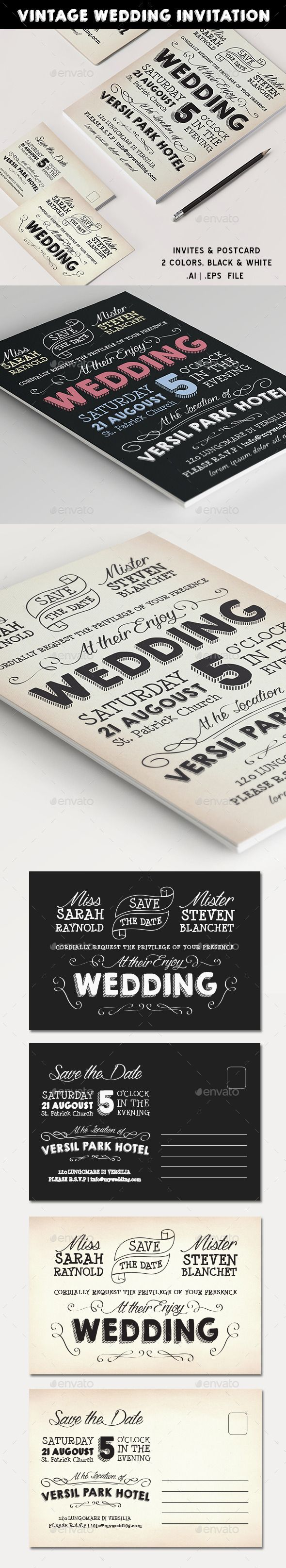 Vintage Wedding Invite — AI Illustrator #retro wedding #retro invite • Available here → https://graphicriver.net/item/vintage-wedding-invite/11439360?ref=pxcr