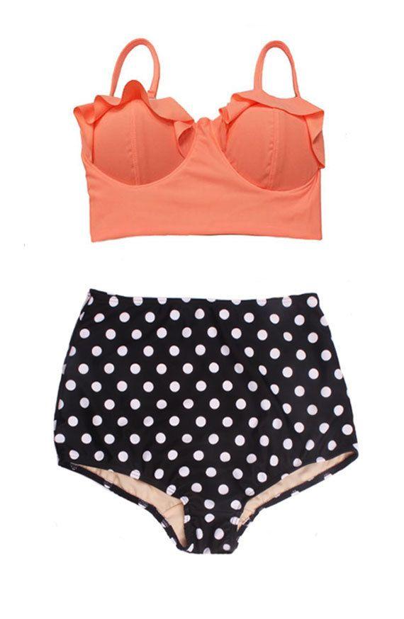 Old Rose Midkini Top and Polka dot dots High Waist Waisted Vintage Retro Swim Swimsuit Swimwear Bikini Two piece Bathing suit wear dress S M