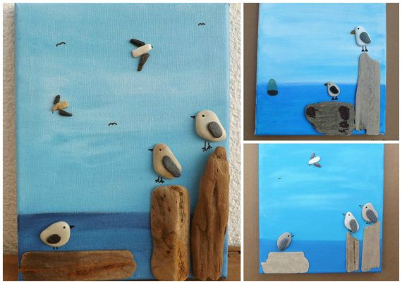 RESTING GULLS Pebble Art Made to Order Seagull by DengraDesigns