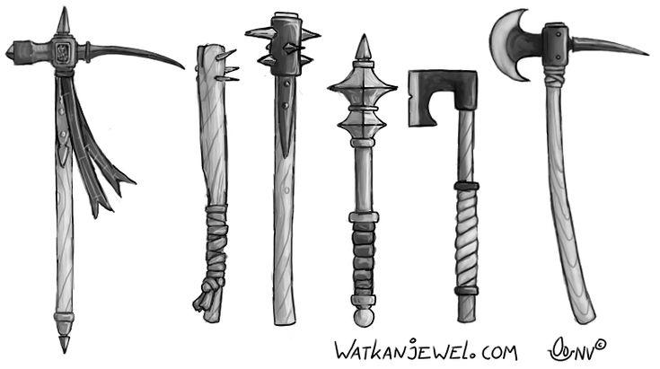 Weapons: warhammer, club, morning star, mace, battle axe. Niels Vergouwen watkanjewel.com