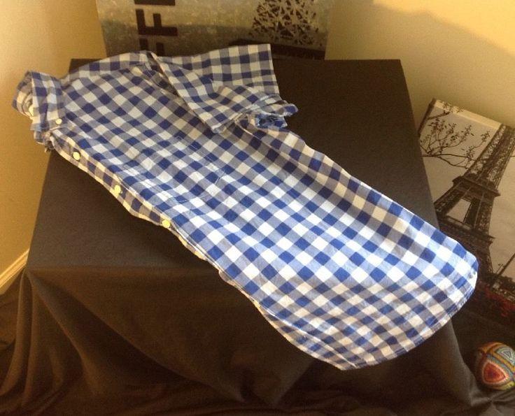 Old Navy mens L slim fit classic 2 tone blue checkered shirt dress