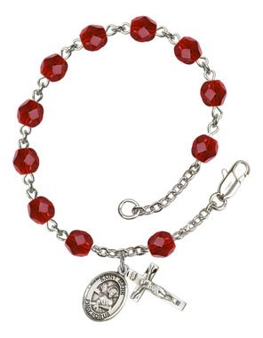 St. Mark the Evangelist Silver-Plated Rosary Bracelet with 6mm Ruby Fire Polished beads