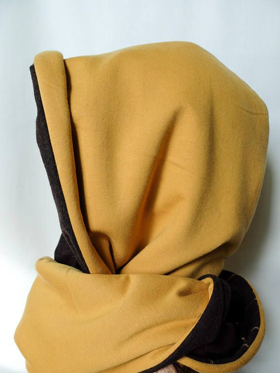Cozy snood scarf wool hooded scarf mustard cowl with hood