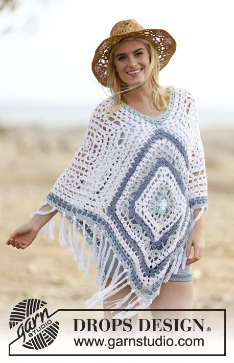 "Poncho de ganchillo DROPS en ""Paris"". Talla única ~ DROPS Design"