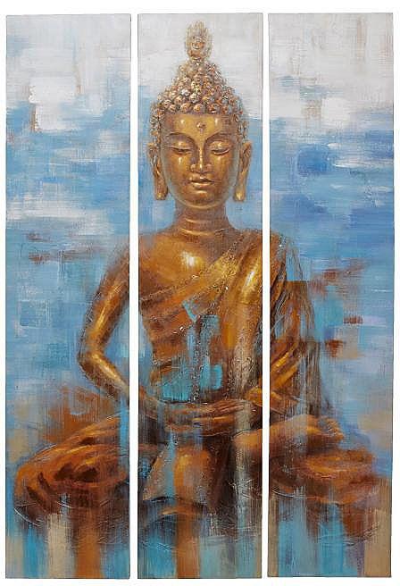 Home affaire 3 teiliges Bilder-Set »Buddha«, 120/180cm für 299,99€. Imposantes, dreiteiliges Wandbild, Acrylfarbe auf Leinwand bei OTTO