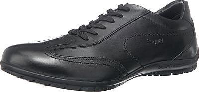 Schlichte bugatti Freizeit Schuhe für jeden Tag. Diese besitzen einen weiten Schnitt und eine angenehme Polsterung, sodass ein hoher Tragekomfort zustande kommt.  - natürlich genarbtes Leder - sportlicher Schnürverschluss - gepolsterter Schaftrand - flexible, rutschhemmende Laufsohle  Obermaterial: Leder Futter: Sonstiges Material (Synthetik) Decksohle: Leder, Textil Laufsohle: Sonstiges Materi...