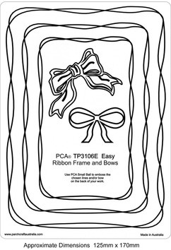 PCA EASY EMBOSSING TEMPLATE 3106E - RIBBON FRAMES AND BOW  PCA Easy Embossing Template Ribbon Frames and Bow. Using PCA small ball tool to emboss simply place the parchment over the templates and follow the frame lines. PCA recommend lubricating the parchment with a tumble dryer sheet before embossing.