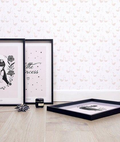 papier peint fille cygnes roses - Papier Peint Fille