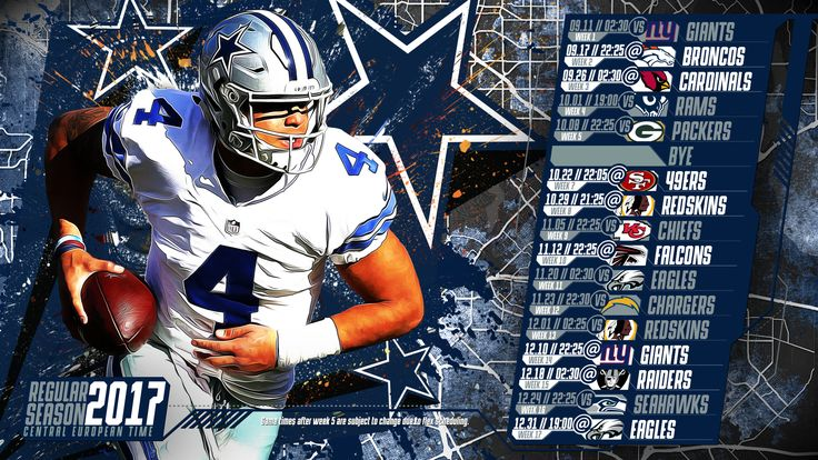 Schedule wallpaper for the Dallas Cowboys Regular Season, 2017 Central European Time. Made by #tgersdiy