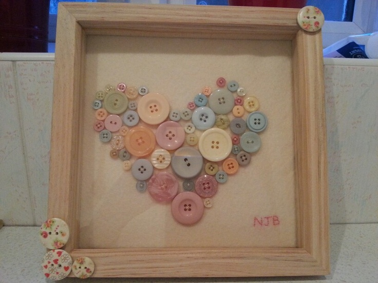 Heart buttons in box frame
