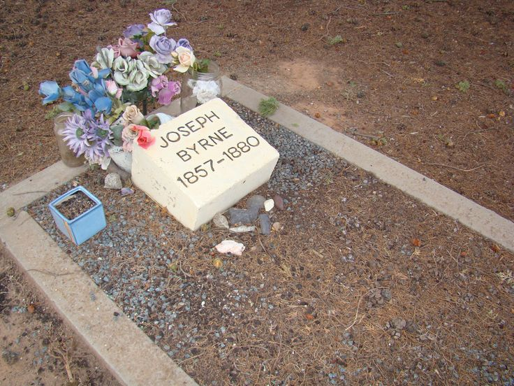 Joe Byrnes grave in the Benalla cemetery. He was buried here after he was killed at the siege at Glenrowan. there are other people associated with the Kelly gang buried here, Ned's grandmother, cousin Tom LLoyds parents, Sambo, one of the aboriginal trackers and Martin Cherry who was killed from police fire at the siege.