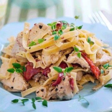 Fräsch och lättlagad pasta med kyckling. (Provlagad och fotad ännu en gång och lika god som vanligt tycker vi på redaktionen.)