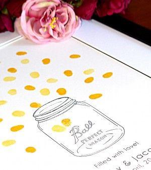 Mason jar and fireflies fingerprint guest book for weddings and engagements. Thumbprint guest book.