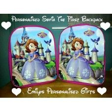 Lovely and Personalised Sofia the first  backpack £9.50 plus p+p (Personalised with fabric paint and covered in a fixing solution)