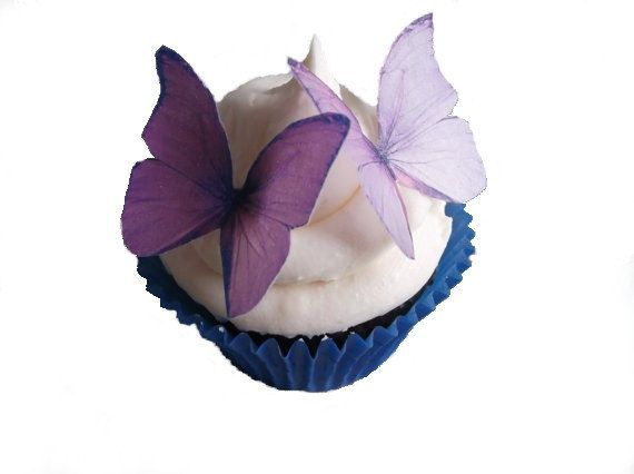 SPRING Cake Ideas  - Edible Butterflies in 24 Purple and Lavender - Wedding Cupcake, Cupcake Supplies, Cupcake Shop via EtsyPurple Butterflies Cupcakes, Cupcakes Decor, Cupcakes Toppers, Cake Decor, Lavender Wedding, Edible Butterflies, Bridal Shower, Wedding Cake, Cake Toppers