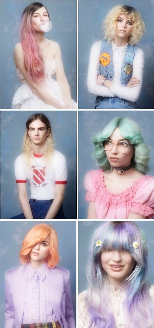 Hair, pastel, 70's vibe, retro hair, rainbow hair, pink, peach, purple, mint…