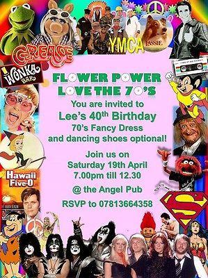 new fancy dress disco birthday invitations 70s party retro theme