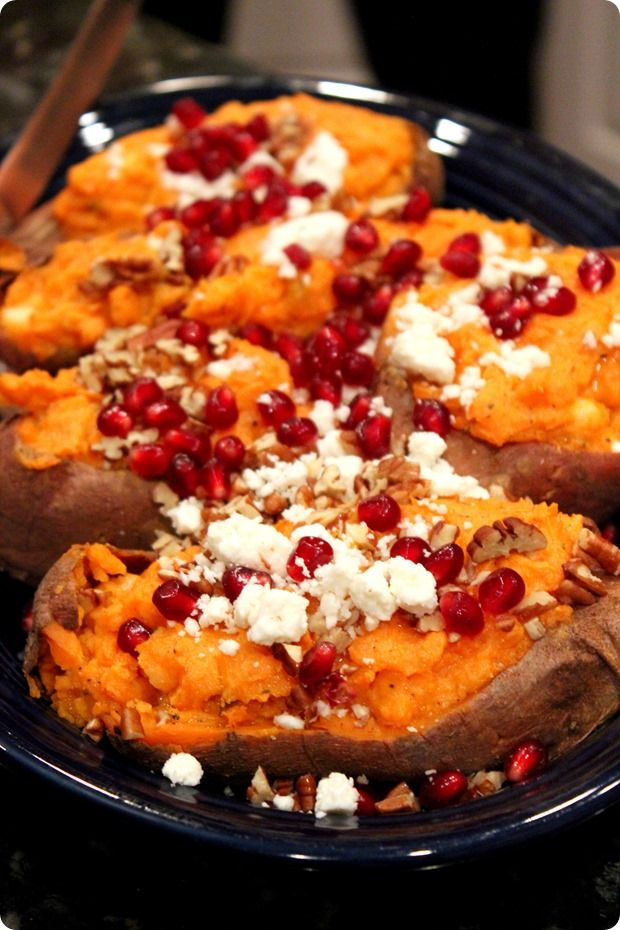 Thanksgiving 2013: Twice Baked Sweet Potatoes w/ Feta, Almonds and ...