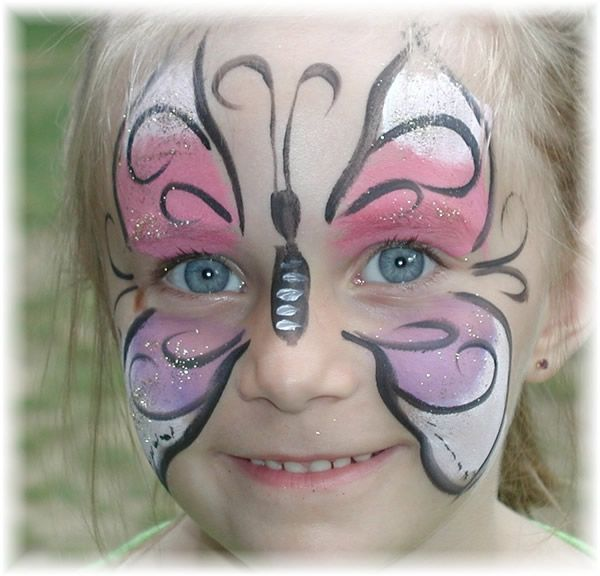 Hire a face painter for the kids  Beautiful butterfly face paint! (How do they get the glitter to stay?) by kris