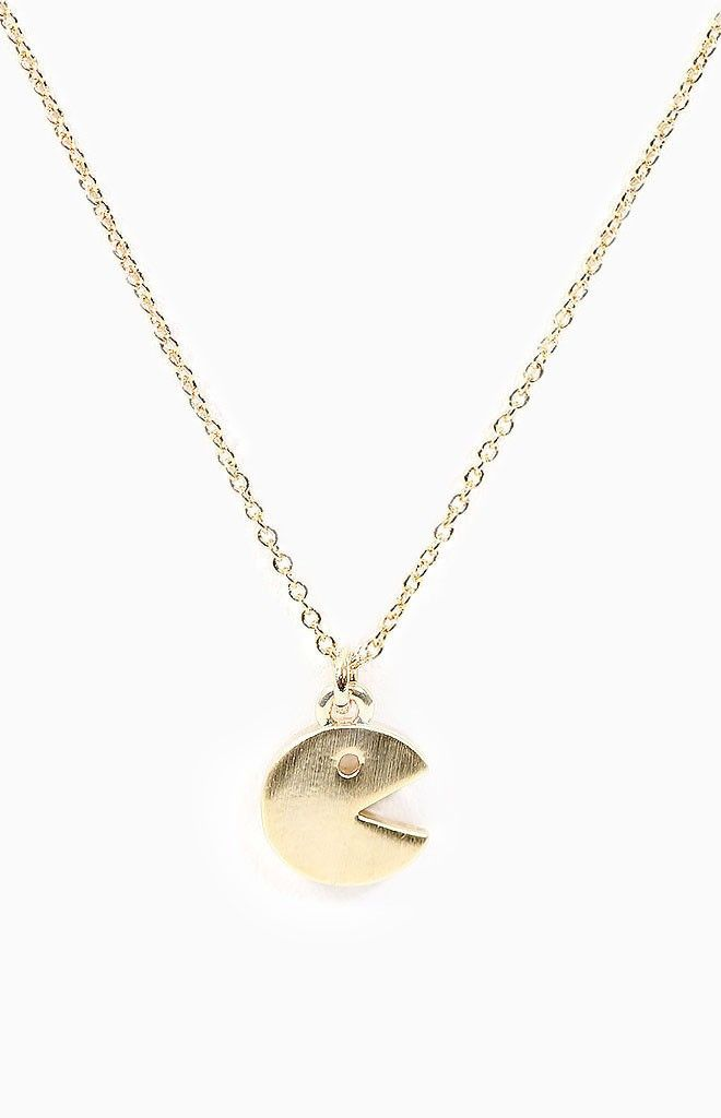 Pac Man Necklace Gold