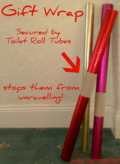 Great tip for storing gift wrap! Use toilet paper rolls to secure around the gift wrap, it stops them from unravelling | karimas crafts