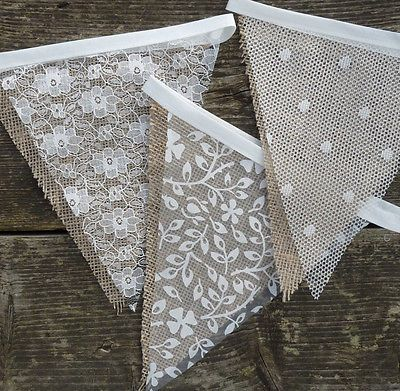 Lace & Hessian Bunting Wedding Shabby Chic Spots or Floral Vintage Rustic | eBay