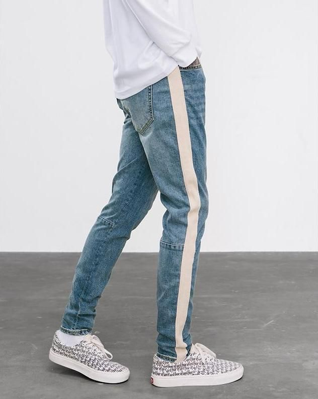 Justin Bieber Style Mens Pants Jumpsuit Urban Rock Star Distressed Skinny Designer Zipper Ripped Broken Hole Jeans High Quality Fashionable And Attractive Packages Men's Clothing