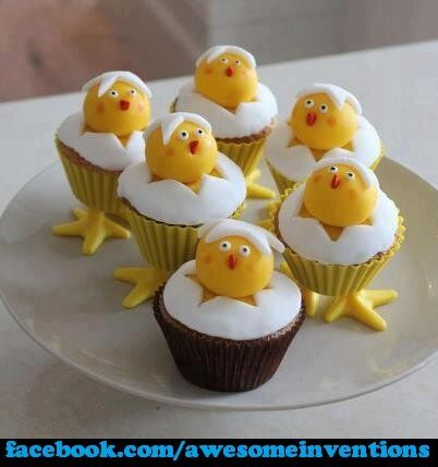 Chick in egg Easter Cupcakes!