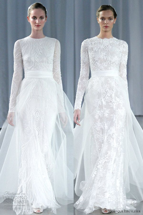I just don't really know where else to pin the dress on the left.  I love how simple it is.  monique lhuillier fall 2013 long sleeve wedding dresses a line tulle over skirt - HOW PERFECT? <3.......Italy