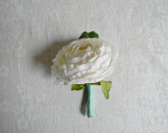 Boutonnieres, Wedding Boutonniere, White Boutonniere, Ranunculus Wedding, Tiffany Blue Wedding, Grooms Bout, Buttonhole