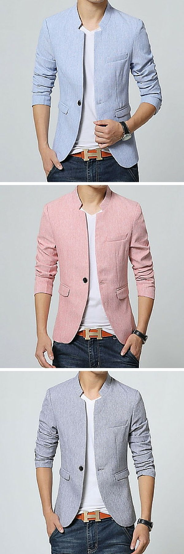 A cotton blazer for spring. This is an excellent choice for the modern man who wants to look put together without looking stuffy. It can be worn with jeans or slacks.