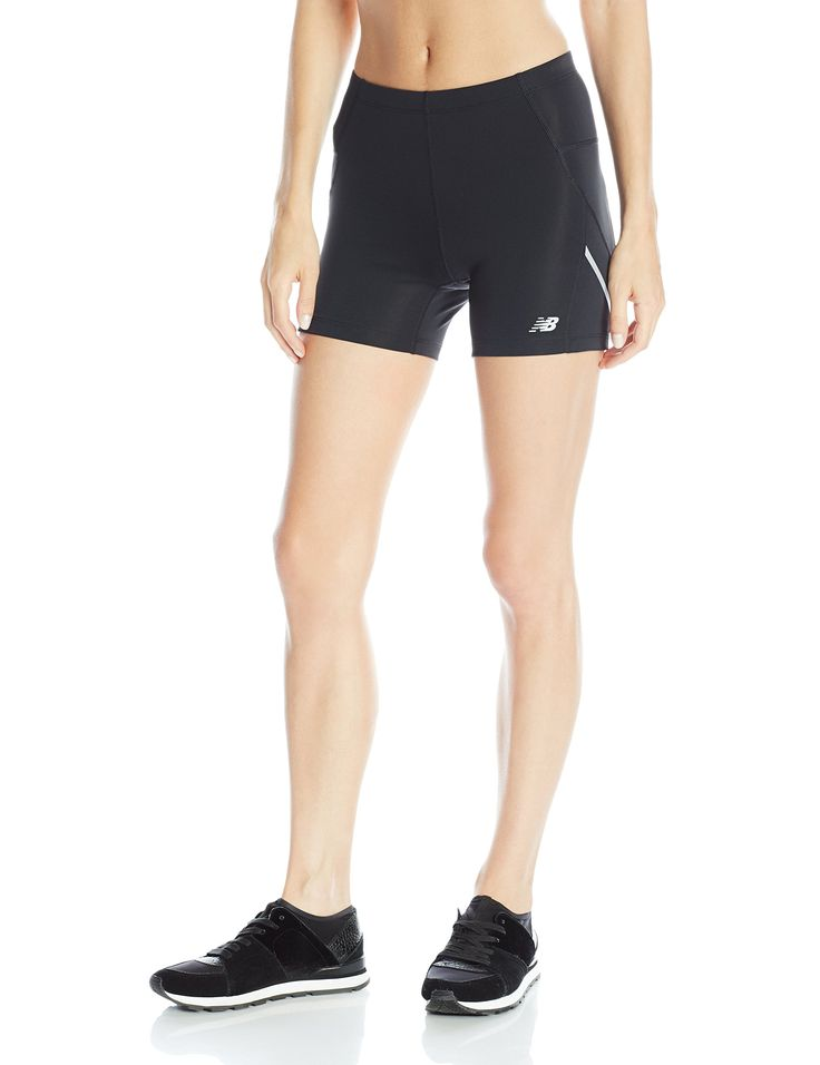 New Balance Women's Accelerate Fitted Shorts, Black, X-Large. Reflective  Logo At Wearer's Left Hip. NB Dry for moisture management.