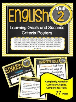 Grade 2 All English Learning Goals & Success Criteria! Compatible with ALL STATES - AUSTRALIAN CURRICULUM This packet has all the posters you will need to display the learning goals for the whole year:Grade 2 Australian Curriculum English Reading and Writing - Speaking and Listening (Language, Literature, Literacy) All content descriptors have been reworded into smart goals with an accompanying poster showing the success criteria needed to achieve these goals.