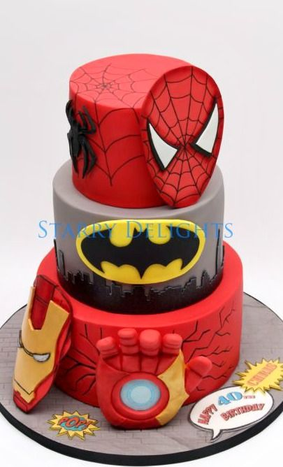 Superhero Cake - Ironman, Batman, Spiderman
