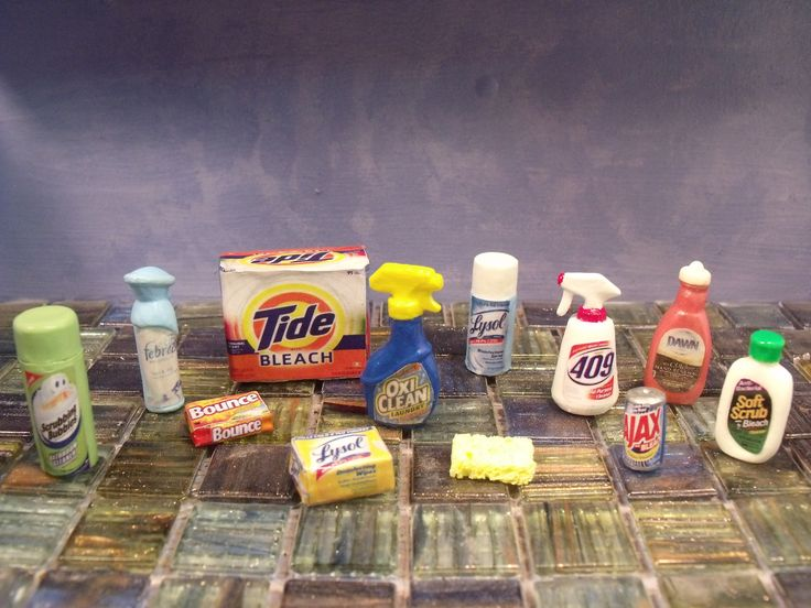 Barbie doll CLEANING PRODUCTS ...custom 1/6 scale realistic miniatures, Barbie Collection, Barbie Accessories, furniture ...created by CHANIKAVA