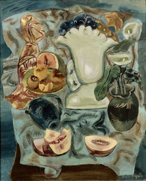 Frances Hodgkins (New Zealand 1869–1947), Still Life with Fruit Dishes, oil on canvas laid on hardboard, c 1937. Collection Dunedin Public Art Gallery, NZ.