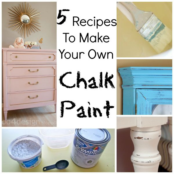 Make your own chalkpaint.  5 different recipes.